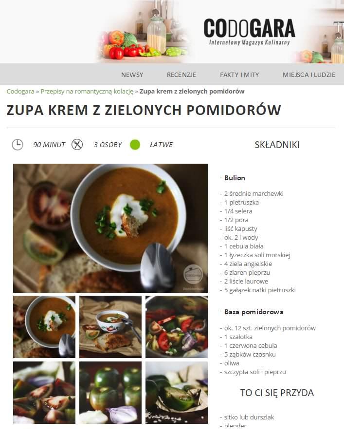Zielona pomidorówka. Przepis w serwisie CODOGRA.PL