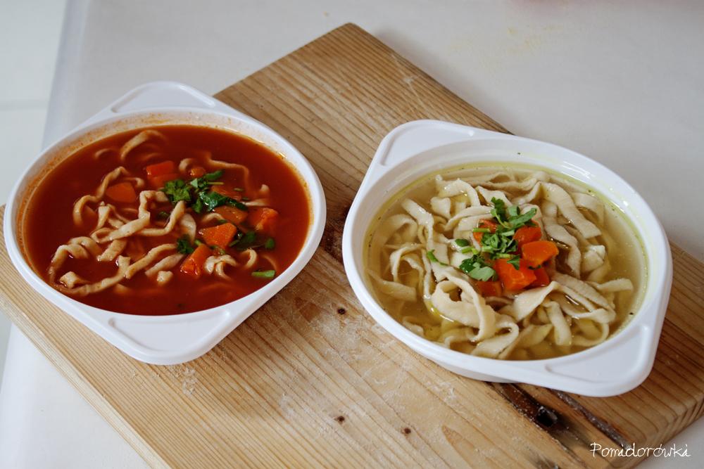Zupa pomidorowa i rosół z domowym makaronem